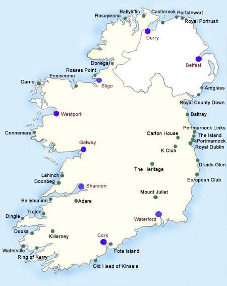 Golf Map Of Ireland.Ireland Golf Courses With Irish Pro Golf Tours